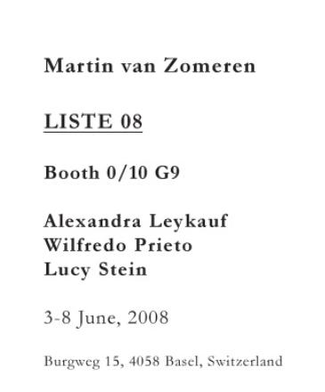 AMSTERDAM, Galerie Martin Van Zomeren @ Liste, June 3 - 8